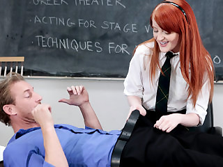 Redheaded schoolgirl Krystal gets hard sex from her drama teacher