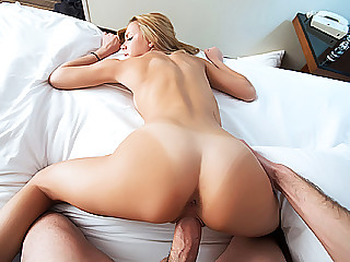 Perky nippled sexy blonde cutie Holli Mack has her tight snatch fucked